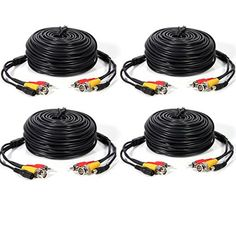 Masione 4 PACK 50ft security camera video audio power cable wire cord for cctv dvr surveillance system * Click on the image for additional details.(It is Amazon affiliate link) #newjersey