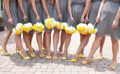 love all the different yellow shoes!