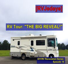 "Do you remember? I started oh, so many months ago with a plan! There were ups and downs and a LOT of hours plugging away all to get to this very point… the completion… the ""Big Reveal"" if you will … Motorhome Living, Smart Tiles, Diy Rv, Before And After Pictures, Project Yourself, Recreational Vehicles, Tours, Big, Mystery"