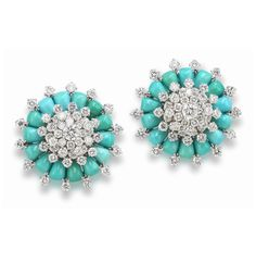 Incredible retro Van Cleef and Arpels turquoise and diamond earrings, circa 1960.