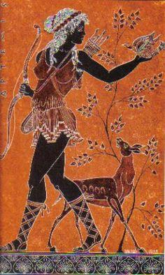 article, Anna Yamamaya: Depictions of Artemis (Greek goddess of the moon, the hunt, wild animals and fertility) Artemis Greek Goddess, Goddess Art, Ancient Goddesses, Greek Gods And Goddesses, Ancient Greek Art, Ancient Greece, Potnia Theron, Le Sphinx, Minoan Art
