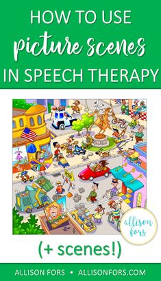Picture scenes are a versatile and engaging tool to use in speech therapy to work on: grammar, wh qu Preschool Speech Therapy, Articulation Therapy, Speech Activities, Speech Therapy Activities, Speech Language Pathology, Speech And Language, Language Activities, Articulation Activities, Speech Therapy Posters