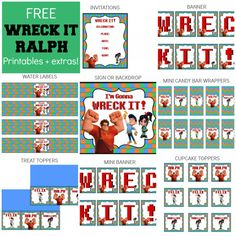Free Wreck It Ralph Party Printables + extras! Printable Banner, Party Printables, Free Printables, Party Snacks, Party Games, Troll Party, Wreck It Ralph, Man Party, Menu Cards