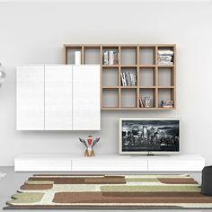 TV Wohnwand Kompakt Mit Bücherregal