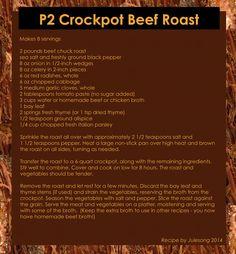 P2 Crockpot Beef Roast - Recipe by Julesong 2015 - hCG - Omnitrition - Phase 2 recipe.  This roast is sooooooo good!!