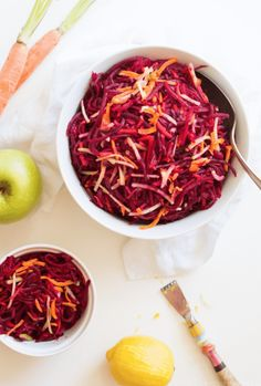 Beet Carrot Apple Salad will make your tastebuds dance with flavor. The sweet carrot & apple balance out the earthy beets. Simply tasty, paleo, and gluten-free. Learn how! Apple Cranberry Salad, Apple Walnut Salad, Carrot Salad, Beet Salad, Apple Salad Recipes, Paleo Recipes, Sweet Carrot, New Cooking, Beets