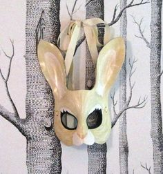 For Beltane!~ Rabbit Leather Mask Adult Size  Made to by SundriesAndPlunder, $70.00