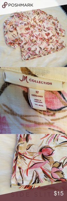 """Linen Shirt Who is ready for a walk on the beach?!? This is a linen shirt by JM Collections (size 12). It is white with a pink tropical/floral design, button down the bust, small slits on the bottom sides, and a """"buckle"""" like detail on the arm cuffs.   Great condition! JM Collection Tops Tunics"""