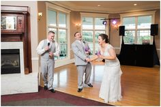bride and groom laughing at best man's speech during wedding reception at Whitestone Inn Lion and Lamb