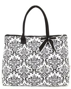 Belvah Quilted Damask Large Tote Bag