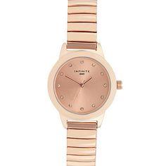 Infinite Ladies rose gold diamante bracelet watch   Debenhams