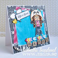Life is Good Little Miss Jr Hatter Card #thezadisproject #cardmaking #copicmarkers Copics used: Skin: E50, E51, E21, E11, R20 Lips: R20, R22, R24 Hair: E21, E25, E29 Shirt: R81, R83, R85 Pants: C3, C5, C7 Boots: B00, B01, B02 Panda Hat: 0, E50, E51, N1, N3, N6, B00, B01, B02 Little Miss Muffet Stamps