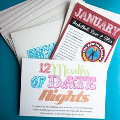12 months of date nights: january.  LOVE this!!  Def doing for the hubby as one if his gifts!