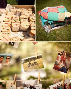 sandwiches for picnic wedding - photos hung up on clothes line