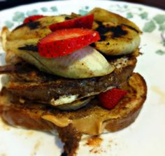 Grilled Banana and Peanut Butter Stuffed French Toast