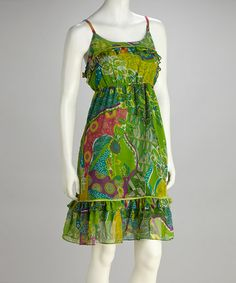 Take a look at this Green Floral Ruffle Dress - Women by Ash & Sara on #zulily today!