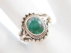 Vintage Sterling Silver Oval Bezel Set Emerald Ring Sz 7 #2122 Check out our other items at jessiesjewelrybox on eBay!
