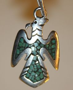 EARLY VINTAGE TOMMY SINGER 925 STERLING TURQUOISE CHIP INLAY EAGLE BIRD PENDANT