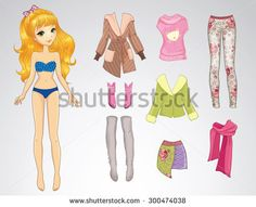 Paper doll of beautiful teenager girl and clothes for her - stock vector