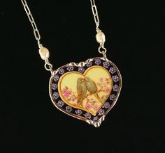 Lovebirds Parakeets Budgies in heart broken china jewelry pendant necklace with…