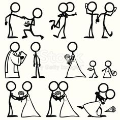 'Stickfigures, performing the proposal, the acceptance, the phone call, the wedding day, the vows, the kiss.'