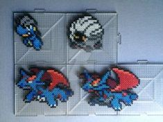 #371-#373 Bagon Family Perlers by TehMorrison