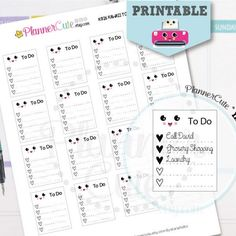 Kawaii To-do List Stickers,  Printable to-do list full box Planner Stickers,  Cute Erin Condren Stickers, K026