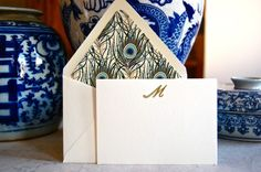 peacock lined envelope and monogrammed stationary