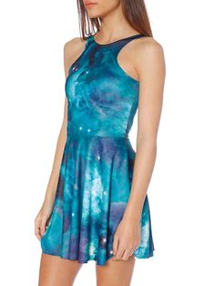 Galaxy Teal Reversible Skater Dress (WW $85AUD / US $68USD) by Black Milk Clothing
