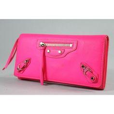 Balenciaga Women's Wallet (Ladies Pre-owned Neon Pink Leather Papier Money Wallet)