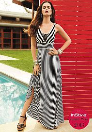 bebe Tie Front Stripe Maxi Dress