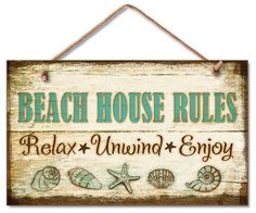 Beach House Rules Wood Wall Sign
