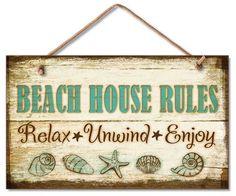 Beach House Rules Wood Wall Sign
