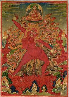 """latticelight: DakiniTibet18th c.distemper on cloth48 x 34.5 cm Dakini, """"Sky Walker,"""" or """"Sky Dancer,"""" is a term used to identify a woman who is accomplished in Tantric Buddhist practices, as well as a whole range of Tantric goddesses, including the remarkable woman who appears at the centre of this painting. Her unusual iconography captures something of the significance of the term, which is meant to convey """"the flights of spiritual insight, ecstasy, and freedom"""" experienced by one who has…"""