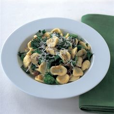 Italian orecchiette with sprouting broccoli pine nuts and sultanas