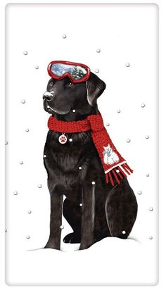 The true workhorse of any kitchen; the flour sack dish towel. Designed by Mary Lake Thompson, featuring a black Lab dog ready for the snow!