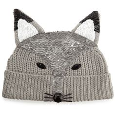 Markus Lupfer Sequin-Fox-Face Beanie ($265) ❤ liked on Polyvore featuring accessories, hats, light grey, brimmed beanie hats, cable knit beanie hat, merino wool hat, merino wool beanie and fox beanie hats