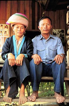 """Chiang Khong, ThailandHmong couple, in their village home near Chiang Rai. This couple was very excited to have their portrait taken, and even changed into their """"best"""" clothes for me!."""