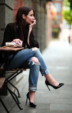Distressed denim + black blazer and heels