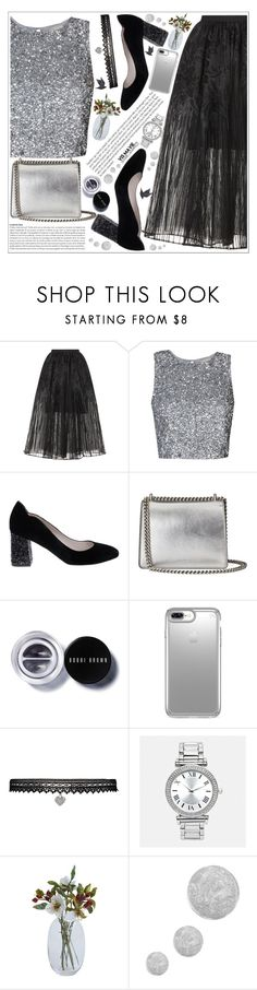 """style"" by lena-volodivchyk ❤ liked on Polyvore featuring Elie Saab, Gucci, Bobbi Brown Cosmetics, Speck, Betsey Johnson, Avenue, Topshop and Jayson Home"