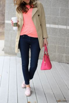 pink top + bag / trench / dark skinnies // member Lilly of Lilly Style