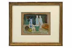 Abstract still life painting, oil on paper, French School. France, 20th Century