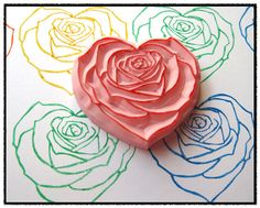 Heart Rose Hand Carved Rubber Stamp by SweetSpotStampShop on Etsy, $10.99