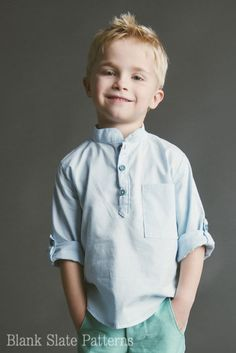 I can picture your little guy in this. Prepster Woven Pullover Shirt PDF Pattern by BlankSlatePatterns, $8.45