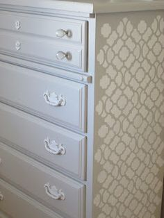 I like the side detail on this dresser makeover. I think i would put this on the top part of my dresser. You wouldn't be able to see the sides:(