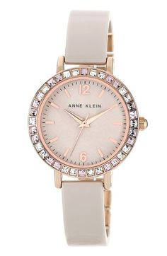 Anne Klein Crystal Bezel Ceramic Bangle Watch, 32mm available at #Nordstrom
