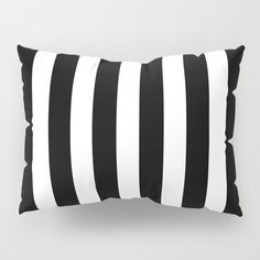 Classic Black and White Football Soccer Referee Stripes Pillow Sham (€32) ❤ liked on Polyvore featuring home, bed & bath, bedding, bed accessories, black white bedding, black and white striped bedding, black and white pillow shams, black and white striped pillow shams and striped bedding
