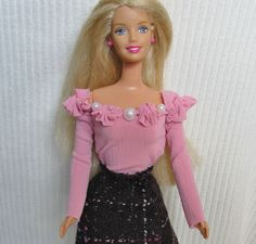 Pink Barbie Doll Top with Purple Plaid Skirt by SusanCarolFashions, $10.00