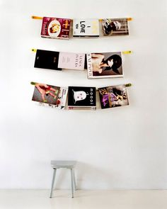 hanging magazines as part of the wall decor