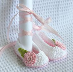 Baby Ballerina Slippers with pink lace up ribbon by LeftyStitches on Etsy
